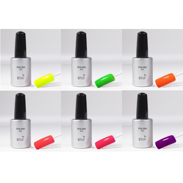 Set 6 Polish Gel 15 ml Fluo Glitter